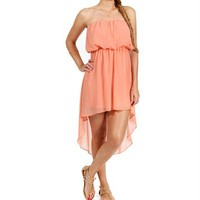 Blush Strapless Hi Lo Dress