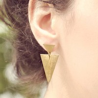 Poketo Brass Double Triangle Earrings