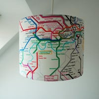 Handmade Drum Lampshade in London Underground Fabric