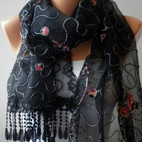 Red Black Scarf  Headband Necklace Cowl with Lace Edge by fatwoman/85245753/