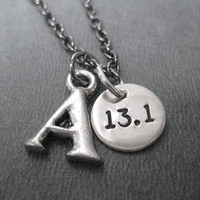 RUN or DISTANCE INITIAL Mixed Metals Necklace - Pewter Initial with Sterling Silver Round Charm on Gunmetal chain - Choose your Distance