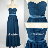 Strapless Sweetheart Floor Length Royal Blue Chiffon Prom Dresses Bridesmaid Dresses Wedding Party Dress