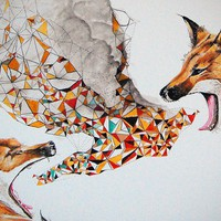 Smoke Signals - Fox Tribal Modern Geometric Print - Open Edition Giclee Print -  Sized 18 x 14 - by Bark Decor