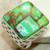Green Copper Turquoise Box Ring