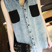 Chiffon Pocket Thin Denim Vest