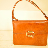 Vintage Brown Leather Satchel by LilytheDogVintage on Etsy