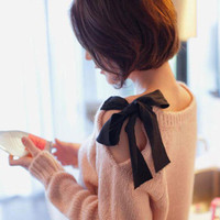 Shoulders Butterfly Bow spring sweater [185]
