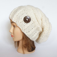 Slouchy beanie hat white slouch hats beanies knitted beanie hat for women hat with button handknit irish wool hats