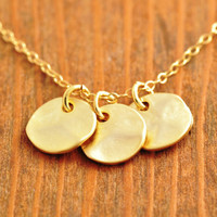 Textured Disk Necklace - gold disk necklace, triple disk necklace, gold disk pendant, bridesmaid necklace, gold coin necklace