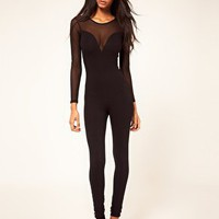 Unitard with Mesh Sleeves