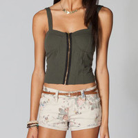 FULL TILT Womens Zip Corset Top