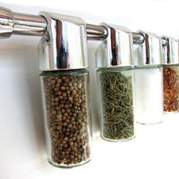 Totemspice chrome spice rack with everyday spices - hanging modern spice rack - empty containers, no spice