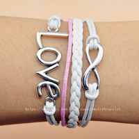 Infinity bracelet ,love bracelet woven leather cuff cotton ropes bracelet sliver infinity and love wrist bracelet jewelry bangle   A-7