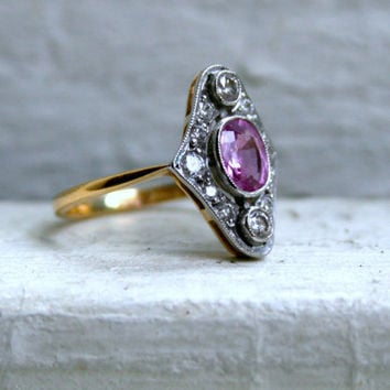 Beautiful Vintage 18K Yellow Gold/Platinum Pink Sapphire and Diamond Ring.