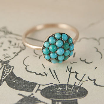 Late 1800s Turquoise Cabochon Pavé Ring | Erica Weiner