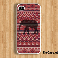 The Elephant on Red Tribal Aztec Design Case : Iphone 4/4s case Iphone 5 case