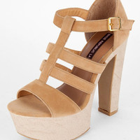 Bound Caged Heels in Tan :: tobi