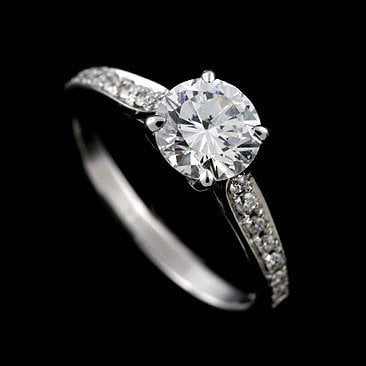 Diamond Engagement Pave Ring 14K White Gold Mounting by OroSpot