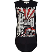 Black Manhattan print tank top - casual wear - sale - women