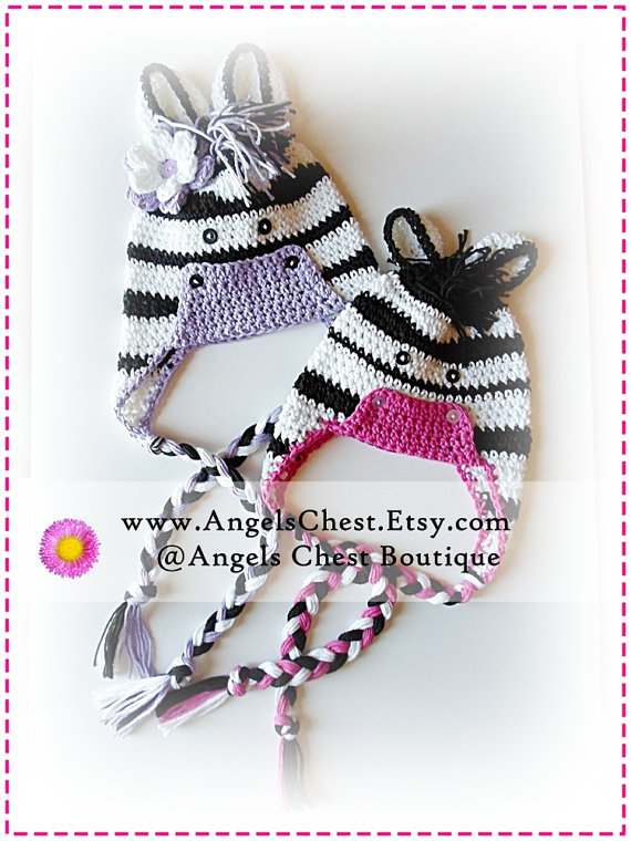 PDF PATTERN Cute Hand Crochet ZEBRA Hat from AngelsChest on Etsy