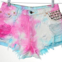 Pink and Blue Tie Dye Shorts with Studs
