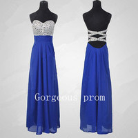 Glamorous High quality beads Chiffon satin Prom Dress