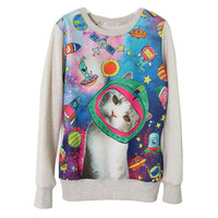 90s Cat face space sweatshirt colorful kawaii by ZulamimiLand