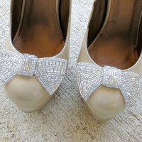 Silver Shoe Clips, Beaded Bow Shoe Clips, Wedding Shoe Accessories by Flower Couture