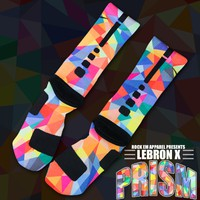 Lebron X Prism Custom Nike Elite Socks | Rock &#x27;Em Apparel