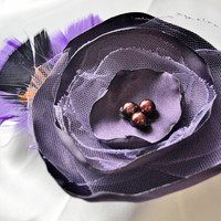 Deep purple satin flower with feathers and by MeredithsLittleShop