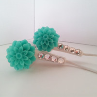 Listen to your tunes with Teal Dahlia Flower Earbuds with Swarovski crystals