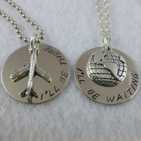 Long distance relationship or His &amp; Her Necklaces and Charms - I&#x27;ll Be There - I&#x27;ll Be Waiting
