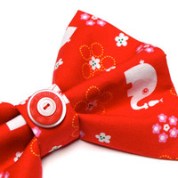 "Large Red Bow Hair Accessory, White Elephant Novelty Bow Hair Clip, Retro Fabric, Vintage Button, Eco Bow - ""An Elephant Never Forgets"""