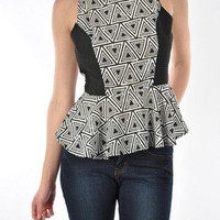 Skyline Geometric Peplum Top - Black + White -  $38.00 | Daily Chic Tops | International Shipping