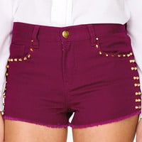 Bolted Stud Denim Shorts