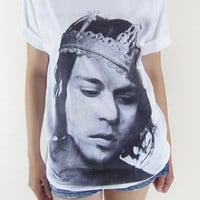 Johnny Depp T-Shirt -- Johnny Depp Tee Shirt White T-Shirt Movie Tee Shirt Unisex T-Shirt Women T-Shirt Men T-Shirt Size L