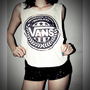 Vans Shirt Crop Top Tank Tops T-Shirt Women Sexy SideBoob Size S, M, L