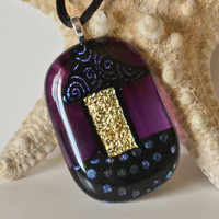 Purple whimsical Dichroic Fused Glass Necklace by eyeseesage