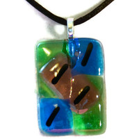 green Fused glass necklace pendant by eyeseesage on Etsy