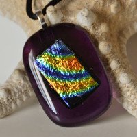 Purple Dichroic Fused Glass Necklace by eyeseesage on Etsy