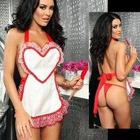 "Amazon.com: 3WISHES ""Sweetheart Chef Lingerie"" Sexy Bedroom Lingerie Apron Set: Clothing"