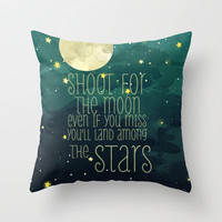 The moon and stars Throw Pillow by Sara Eshak