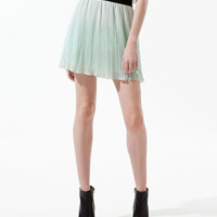 IRREGULAR FINE PLEATED SHORT SKIRT