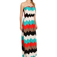 Pre-Order: Multi Color Strapless Maxi Dress