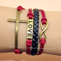 Infinity  ,love,cross bracelet leather cuff bracelet cotton ropes wrist bracelet best friendship gift women bracelet jewelry   A-9
