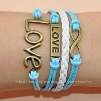 Infinity ,love bracelet Silver Bracelet leather cuff bracelet cotton ropes wrist bracelet best friendship gifts  A-10