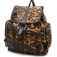 Leopard Print Backpack with Buckle Closure