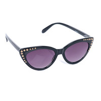 Black Riveted Starlet Sunglasses - Unique Vintage - Prom dresses, retro dresses, retro swimsuits.