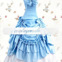 Sky Blue And White Sleeveless Ruffled Gathering Bow Cotton Classic Lolita Dress [T110120] - $77.00 : Cosplay, Cosplay Costumes, Lolita Dress, Sweet Lolita