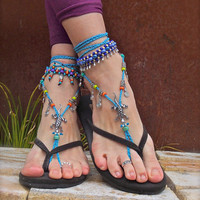 GECKO Lizard BAREFOOT SANDALS Blue Crochet Sandals Anklets silver beaded Ankle bracelets sole less sandals Tribal anklet Totem animal